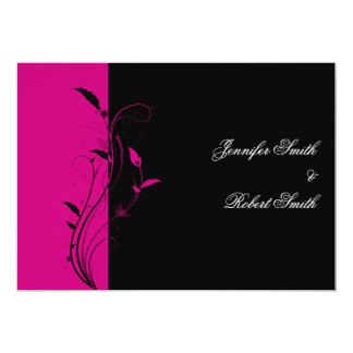 Fuchsia and Black Floral Wedding Invitation