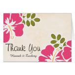 Fuchsia Hibiscus Wedding Thank You Notes Cards