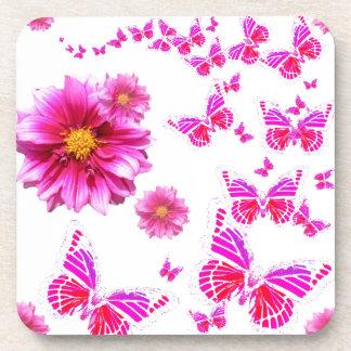 Fuchsia Pink Dahlia's & Butterflies white Pattern Drink Coaster