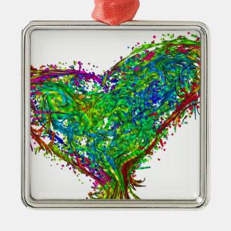 Full heart Silver-Colored square decoration