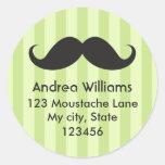 Fun black moustache green stripes address label round sticker