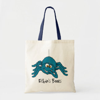 Fun blue spider kids named id library tote bag