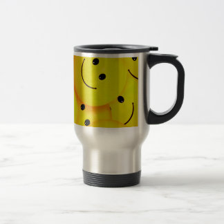 Fun Cool Happy Yellow Smiley Faces Stainless Steel Travel Mug