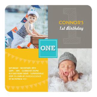 Fun Modern Squares ONE Photo Baby Boy 1st Birthday 13 Cm X 13 Cm Square Invitation Card