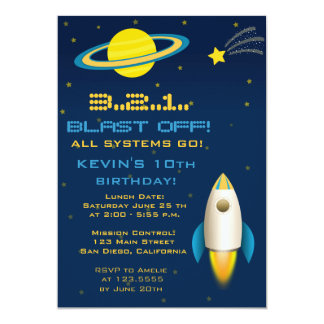 Fun Outer Space Rocket Birthday Party Invitation