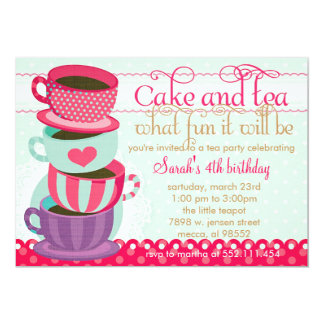 Fun Pink and Blue Cute Cups Tea Birthday Party 13 Cm X 18 Cm Invitation Card