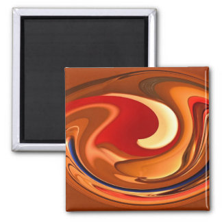 Funky Abstract Burnt Orange and Red Design Square Magnet
