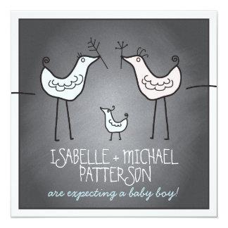 Funky Birds Modern Chalkboard Couples Baby Shower 13 Cm X 13 Cm Square Invitation Card