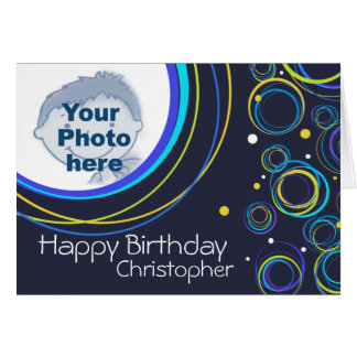 Funky circle card in navy add photo and name