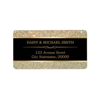 Funky Classy Gold Glitter Sparkles Address Label