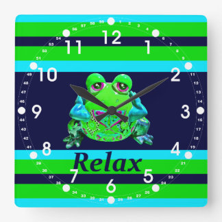 Funky Colorful Frog RELAX Teal Lime Navy Clock