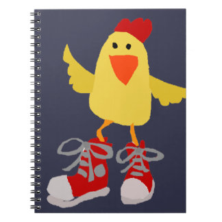 Funky Dancing Yellow Chicken Spiral Note Books