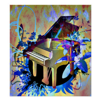 Funky Digitally Colored Piano Poster
