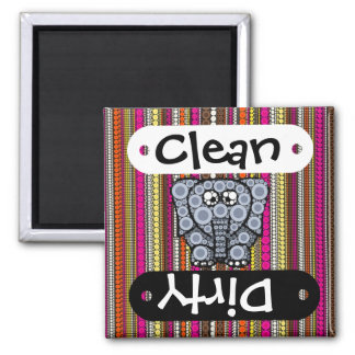 Funky Elephant Circle Mosaic with Stripes Square Magnet