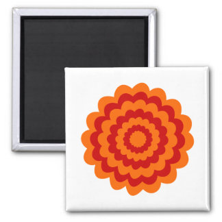 Funky Flower in Orange and Red. Square Magnet