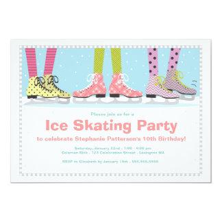 Funky Girls Ice Skating Birthday Party 13 Cm X 18 Cm Invitation Card