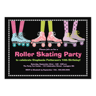 Funky Girls Roller Skating Birthday Party 13 Cm X 18 Cm Invitation Card