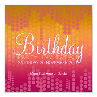 Funky Orange Pink Party Birthday Invitation