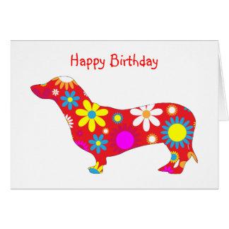 Funky retro floral dachshund dog birthday card