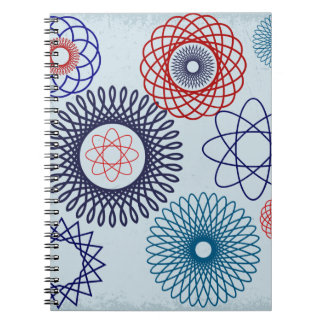 Funky Spirograph Geometric Pattern Blue Red Spiral Note Books