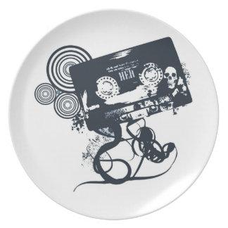 Funky vector cassette plate