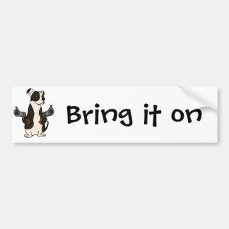 Funny American Bulldog with Guns Drawn Cartoon Bumper Sticker