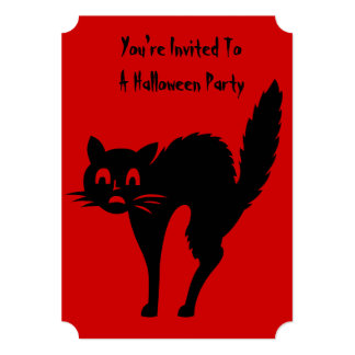 funny angry black cat halloween design 13 cm x 18 cm invitation card