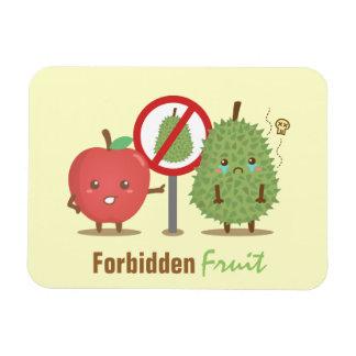 Funny Cartoon, Forbidden Fruit, Apple and Durian Rectangular Photo Magnet