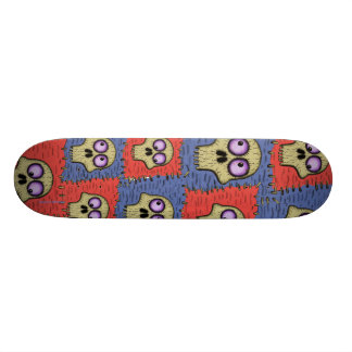 Funny cool skulls on patches cartoon skateboard