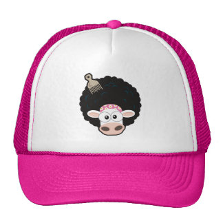 Funny Cow with an Afro and Comb Cap