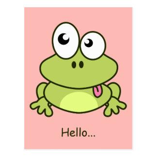 Funny cute frog cartoon postcard