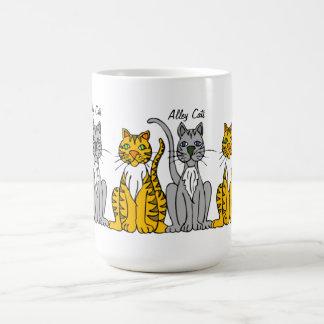 Funny Cute Row of Cartoon Alley Cats Basic White Mug