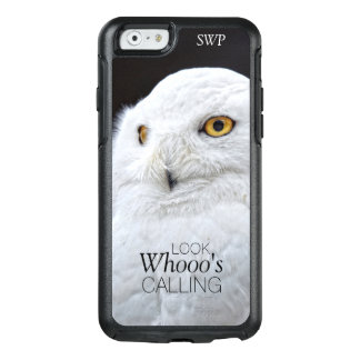 Funny Cute White Snowy Owl with Custom Monogram OtterBox iPhone 6/6s Case