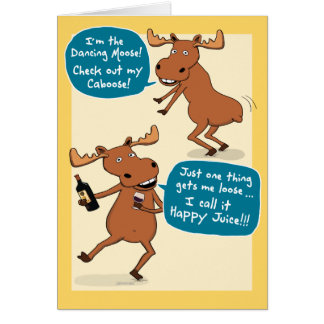 Funny Dancing Moose Birthday Card
