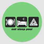 funny eat sleep pool round sticker