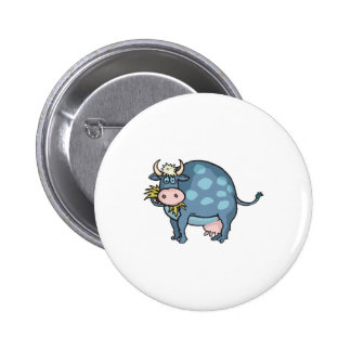funny fat blue cow 6 cm round badge