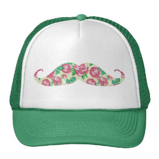 Funny Girly Pink Green White Floral Mustache Cap