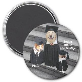 Funny Graduation Dogs & Cat 7.5 Cm Round Magnet