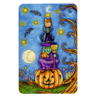 Funny Halloween Magnet with Pumpkin, Witch Cat Owl