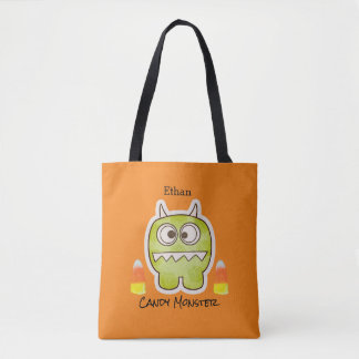 Funny Halloween Monster, Candy Corn Trick or Treat Tote Bag