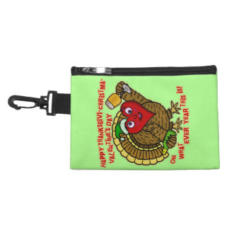 Funny Holiday Drunk Turkey Heart Accessories Bag