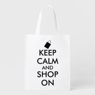 Funny Keep Calm and Shop On Custom Shopping Bag