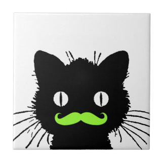 FUNNY LIME GREEN MUSTACHE VINTAGE BLACK CAT SMALL SQUARE TILE