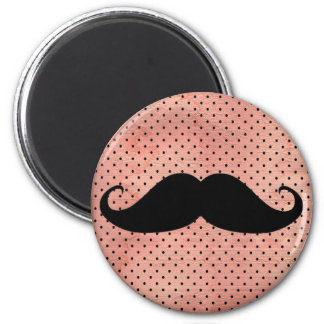 Funny Mustache On Cute Pink Polka Dot Background 6 Cm Round Magnet