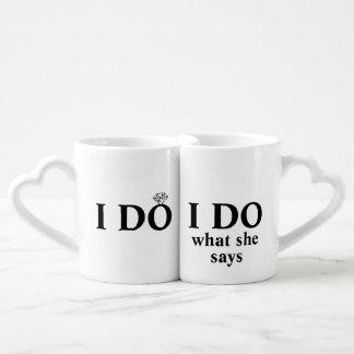 "Funny Personalized ""I Do"" Wedding or Anniversary Lovers Mug Set"