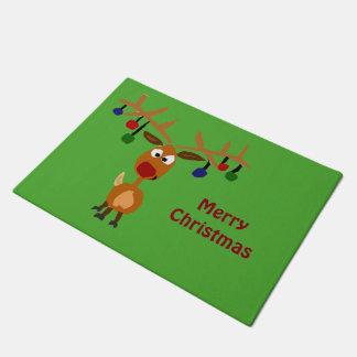 Funny Rudolph Red-Nosed Reindeer Doormat