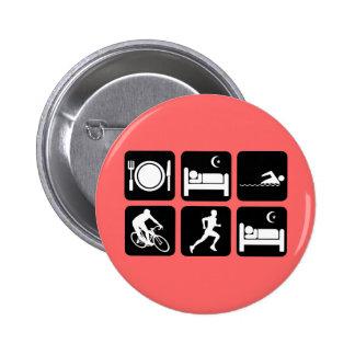 Funny triathlon 6 cm round badge