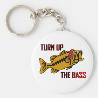 Funny TURN UP THE BASS design Basic Round Button Key Ring