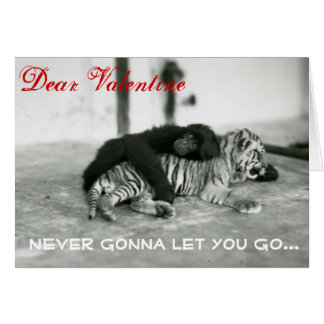 Funny Valentine Day Monkey and Tiger Greeting Card