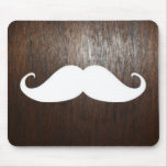 Funny White Moustache on oak wood background Mouse Pad